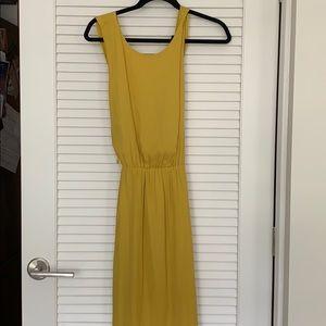 yellow cross back midi dress
